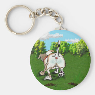 Staffie Smiles - bottoms up! - keyring Basic Round Button Key Ring