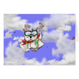STAFFIE SMILES - sky diver - greetings card