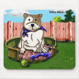 STAFFIE SMILES - Staffie in a basket mouse mat