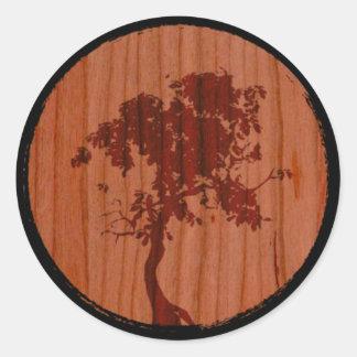 Stafford Custom Woodworks Tree Logo Round Sticker