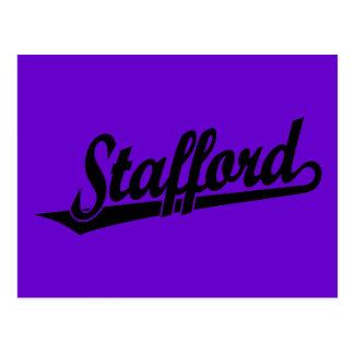 Stafford script logo in black postcard
