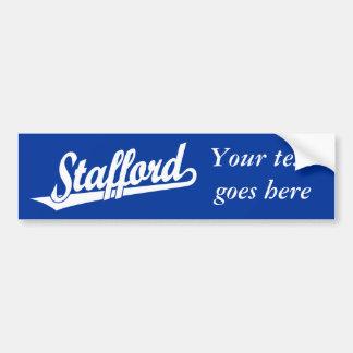 Stafford script logo in white car bumper sticker