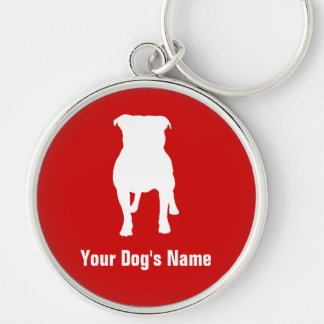 Staffordshire Bull Terrier スタッフォードシャー・ブル・テリア Silver-Colored Round Key Ring