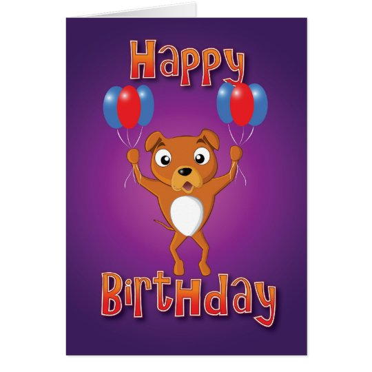 staffordshire bull terrier - balloons - happy bday card