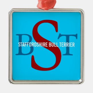 Staffordshire Bull Terrier Breed Monogram Silver-Colored Square Decoration