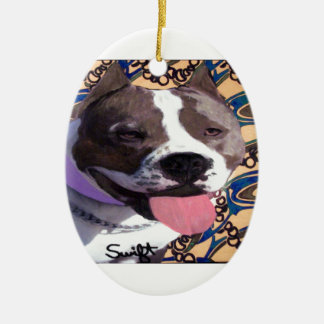 Staffordshire Bull Terrier Ceramic Oval Decoration