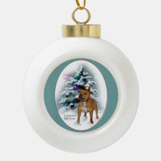 Staffordshire Bull Terrier Christmas Ceramic Ball Decoration