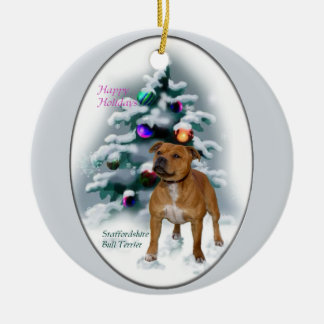 Staffordshire Bull Terrier Christmas Gifts Round Ceramic Decoration