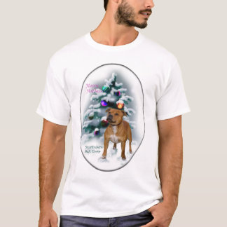 Staffordshire Bull Terrier Christmas Gifts T-Shirt
