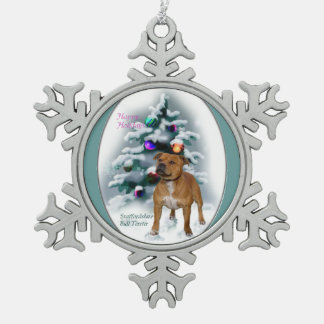 Staffordshire Bull Terrier Christmas Snowflake Pewter Christmas Ornament