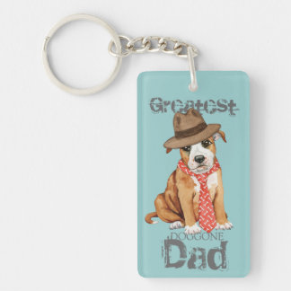 Staffordshire Bull Terrier Dad Double-Sided Rectangular Acrylic Key Ring