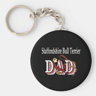 staffordshire bull terrier dad Keychain