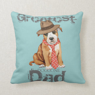 Staffordshire Bull Terrier Dad Throw Pillow