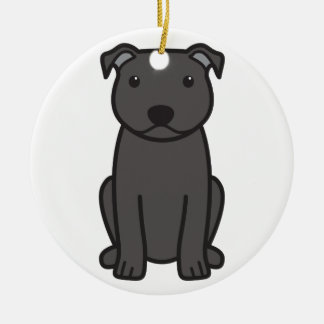 Staffordshire Bull Terrier Dog Cartoon Double-Sided Ceramic Round Christmas Ornament