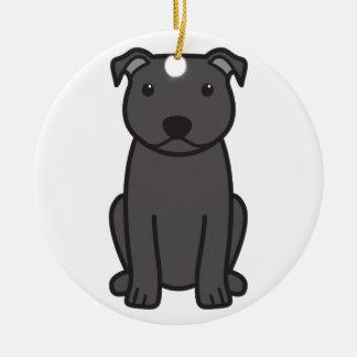 Staffordshire Bull Terrier Dog Cartoon Double-Sided Ceramic Round Christmas Ornament