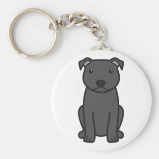 Staffordshire Bull Terrier Dog Cartoon Key Ring