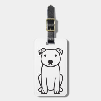Staffordshire Bull Terrier Dog Cartoon Luggage Tag