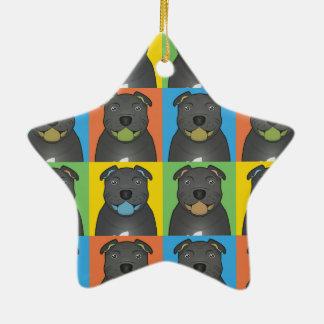 Staffordshire Bull Terrier Dog Cartoon Pop-Art Christmas Ornaments