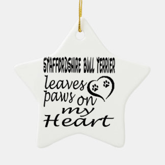 Staffordshire Bull Terrier Dog Leaves Paw On My He Christmas Tree Ornament