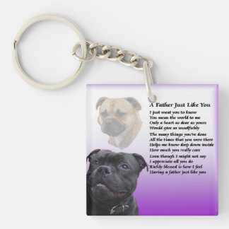 Staffordshire Bull Terrier Father Poem Keyring Double-Sided Square Acrylic Key Ring