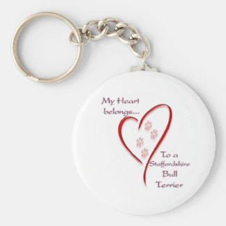 Staffordshire Bull Terrier Heart Belongs Basic Round Button Key Ring