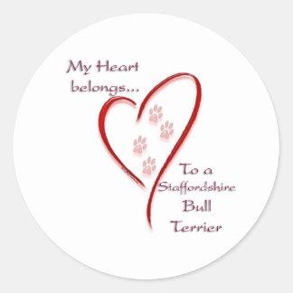 Staffordshire Bull Terrier Heart Belongs Round Stickers