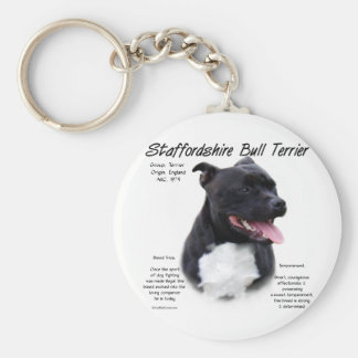 Staffordshire Bull Terrier History Design Basic Round Button Key Ring