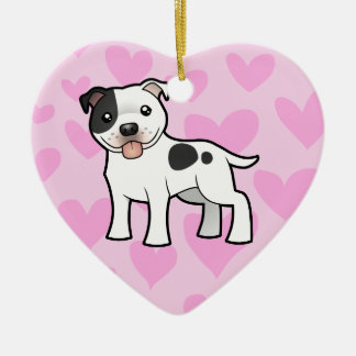 Staffordshire Bull Terrier Love Ceramic Heart Decoration