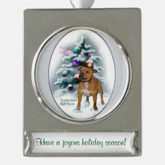 Staffordshire Bull Terrier Personalized Christmas Silver Plated Banner Ornament