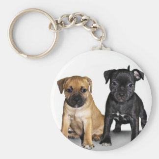 Staffordshire bull terrier puppies basic round button key ring