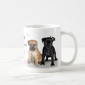 Staffordshire bull terrier puppies coffee mug
