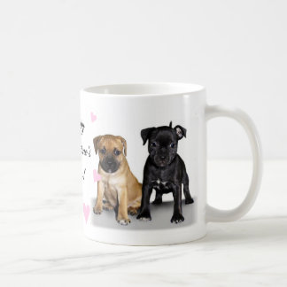 Staffordshire bull terrier puppies basic white mug