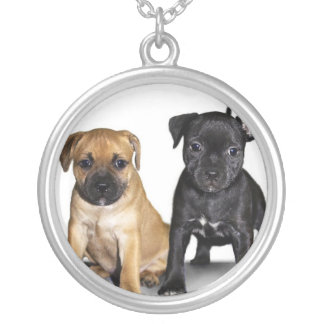 Staffordshire bull terrier puppies round pendant necklace