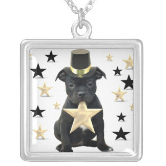 Staffordshire bull terrier puppy square pendant necklace
