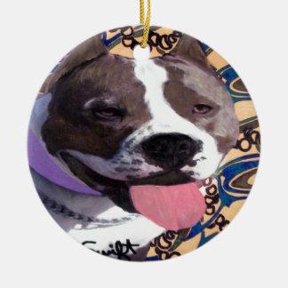 Staffordshire Bull Terrier Round Ceramic Decoration
