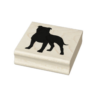 Staffordshire Bull Terrier Silhouette Rubber Stamp