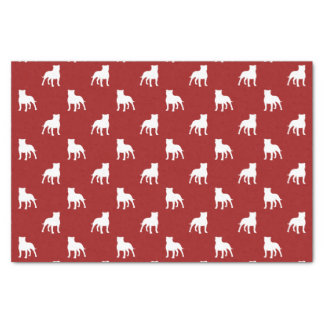 Staffordshire Bull Terrier Silhouettes Pattern Red Tissue Paper