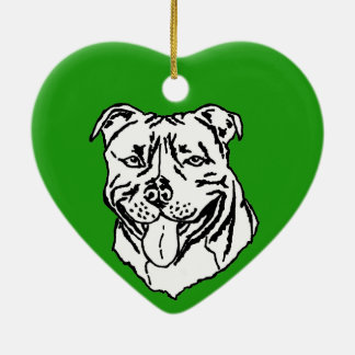 Staffordshire Bull Terrier STAFFY Ceramic Heart Decoration