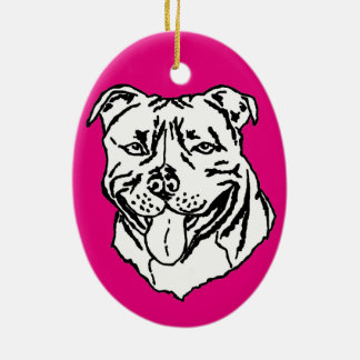 Staffordshire Bull Terrier STAFFY Ceramic Oval Decoration