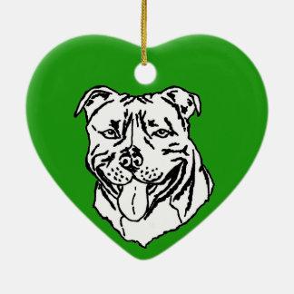 Staffordshire Bull Terrier STAFFY Ceramic Heart Decoration