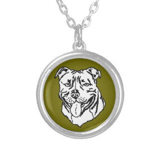 Staffordshire Bull Terrier STAFFY Round Pendant Necklace