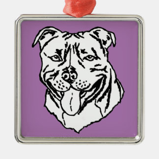 Staffordshire Bull Terrier STAFFY Silver-Colored Square Decoration