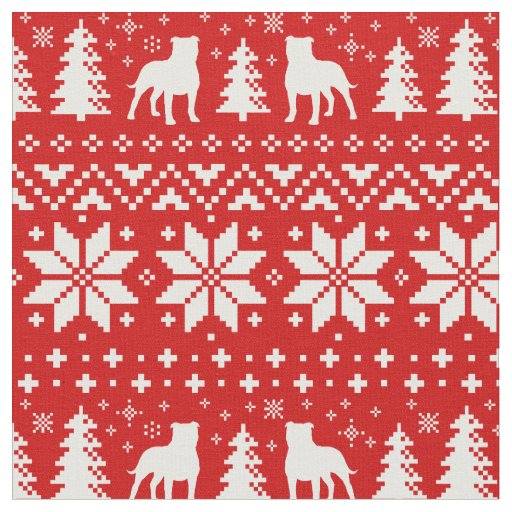 Staffordshire Bull Terriers Christmas Pattern Red Fabric
