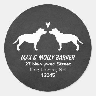 Staffordshire Bull Terriers Love Return Address Classic Round Sticker