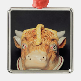 Staffordshire cheese dish in shape of a cow's christmas ornament