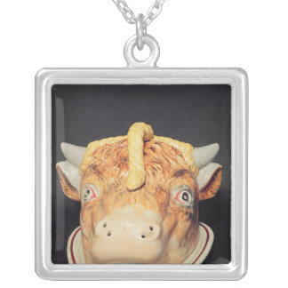 Staffordshire cheese dish in shape of a cow's silver plated necklace