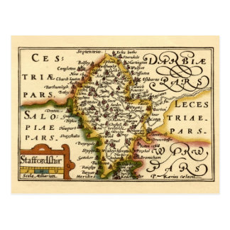 Staffordshire County Map, England Postcard