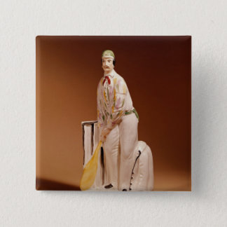 Staffordshire figure of a cricketer, 1865 15 cm square badge