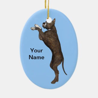Staffordshire Terrier Ceramic Oval Decoration