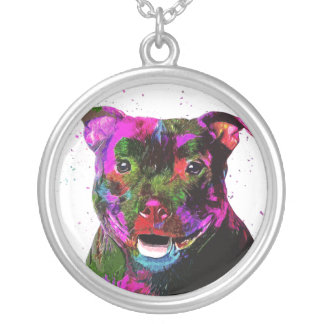 Staffordshire Terrier Colorful Pop Art Silver Plated Necklace